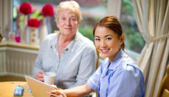 community nurse make a house call to senior