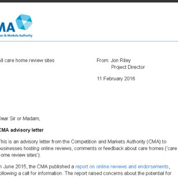 Care home review letter