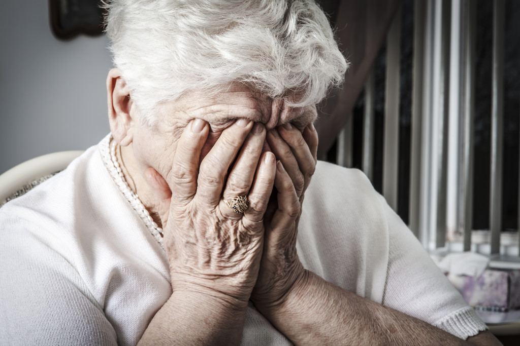 elderly depressed woman