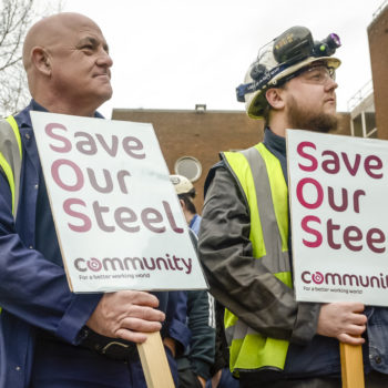 Business Secretary Sajid Javid Attends Crisis Talks At TATA Steel Plant
