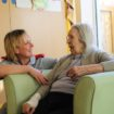 (L-R) Student nurse Julie Cooney with resident Edith Robinson