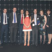 CROP Abbeyfield and Castleoak representatives collecting the Pinder Healthcare Design Award