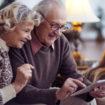Senior couple networking