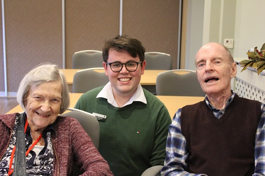 Greg Whalen centre with Middleton Hall residents Clem Wheeler and Barbara Evans sm