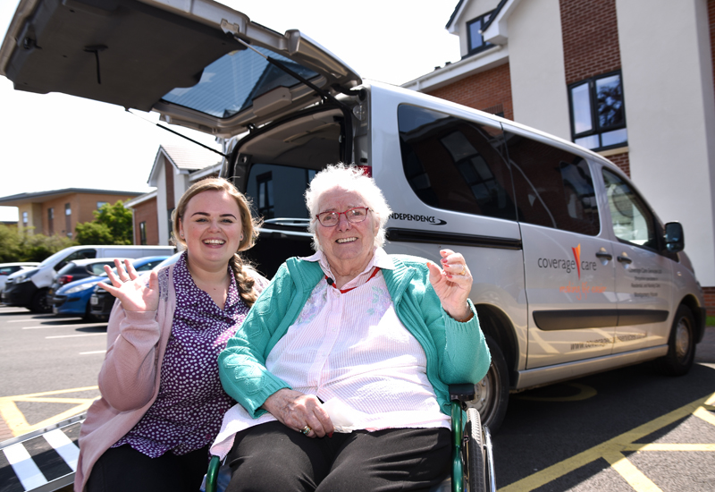Activities co-ordinator Haf Evans and resident Jo Andrews.