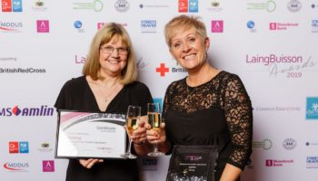 (L-R) Chief Executive Tracey Stakes and Deputy Chief Executive Tracy Paine with the Residential Care Award at the LaingBuisson 2019 award ceremony