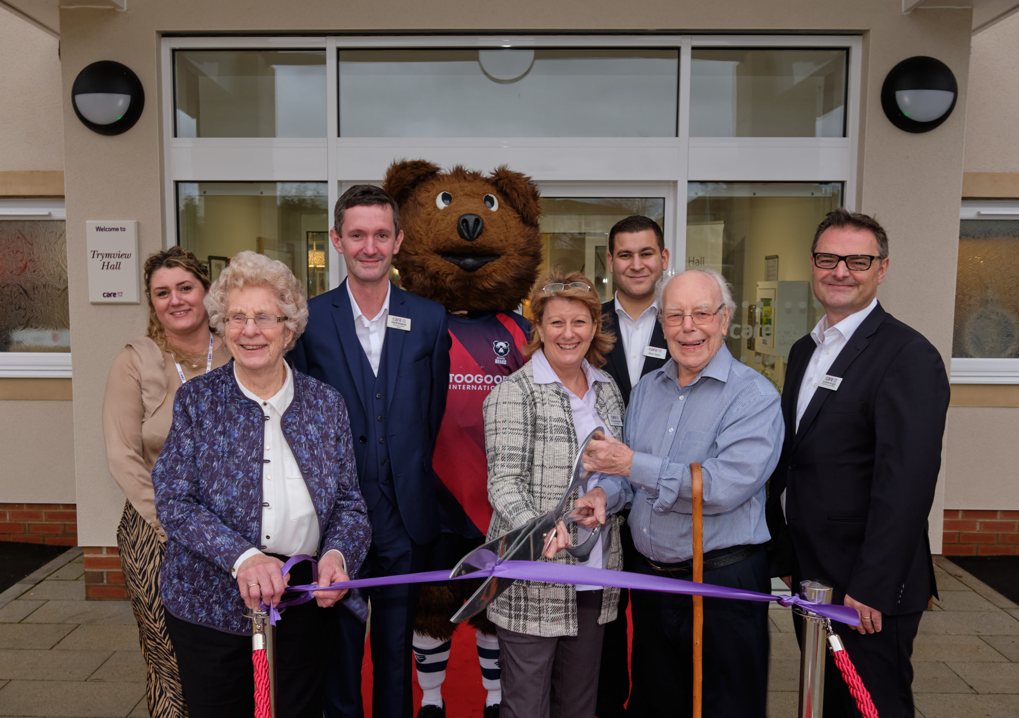 Care UK's Trymview Hall is declared open by the Bristol Bears' Mascot Brizzley Bear