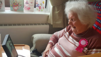 Shirley Noble from Springfield care home using facetime