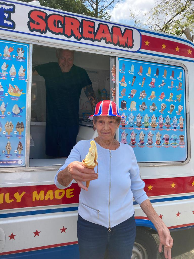 Woodstock Residential Care Centre resident Rose Jordan, 86, makes the most of on-site ice cream van for residents and staff to enjoy